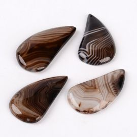 Natūralaus Agato pakabukas juodos-rudos spalvos, lašo formos, 1 vnt.