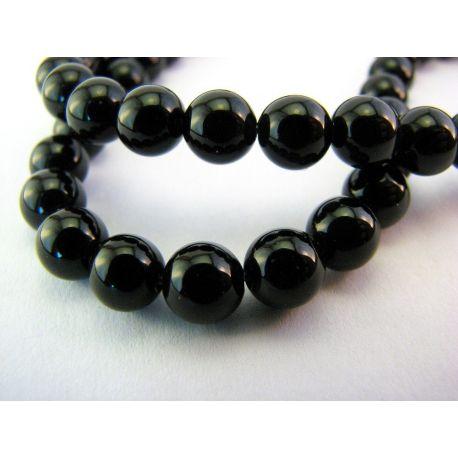 Agato karoliukai juodos spalvos apvalios formos 8mm