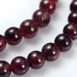 Natural pomegranate bead thread, round, cherry color, 3-4 mm.