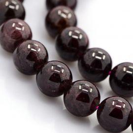 Natūralaus Granato karoliukų gija, apvalūs, vyšninės spalvos, 10 mm.