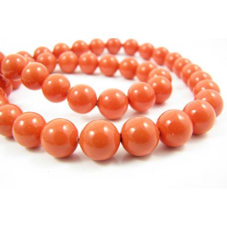SHELL pearl beads orange round shape 8 mm, 10 pcs.