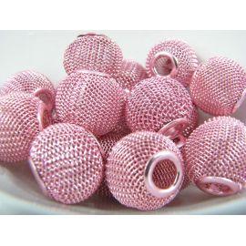 Metaliniai karoliukai, rožinės spalvos, 16x14 mm, 1 vnt.