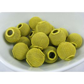 Metal beads, opaque yellow, 16x14 mm, 1 pcs.