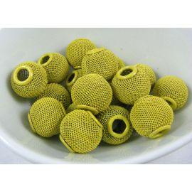 Metaliniai karoliukai, matinės geltonos spalvos, 16x14 mm, 1 vnt.
