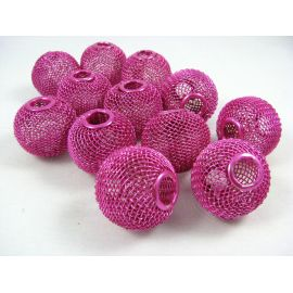 Металлические бусины ярко-розовые, 25х22 мм, 1 шт.