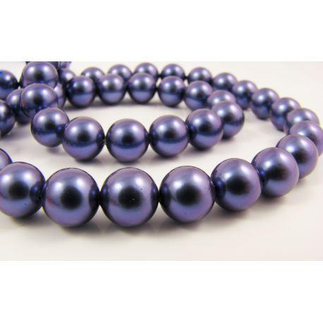 SHELL pērļu pērles zili violetas apaļas formas 8 mm
