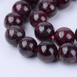Natūralaus Granato karoliukų gija, apvalūs, vyšninės spalvos, 4 mm.