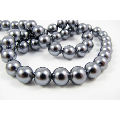 SHELL perlų karoliukai tamsiai pilkos spalvos apvalios formos 8 mm