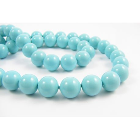 SHELL pearl beads azure color round shape 8 mm 10 pcs.
