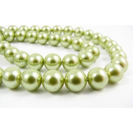Бусины жемчужные РАКУШКА зеленые круглая форма 8 мм 10 шт.