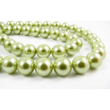 SHELL pearl beads green round shape 8 mm 10 pcs.