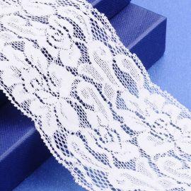 Dekoratyvinė elastinė gumutė, baltos spalvos, 75 mm, 1 metras