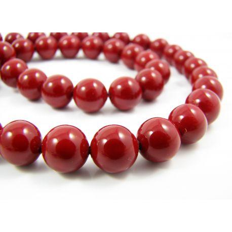 SHELL perlų karoliukai vyšninės raudonos spalvos apvalios formos 8 mm