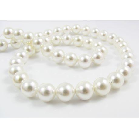 SHELL perlų karoliukai baltos spalvos apvalios formos 8 mm