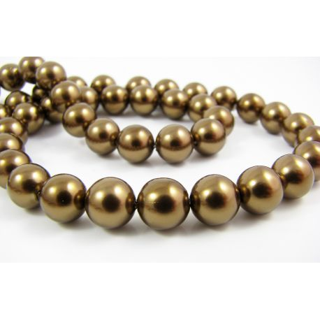 SHELL Pearl Beads Bronze Color Round Shape 8 mm