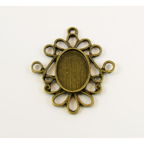 Frame - pendant for kamers cabochon bronze color 32x27x2 mm