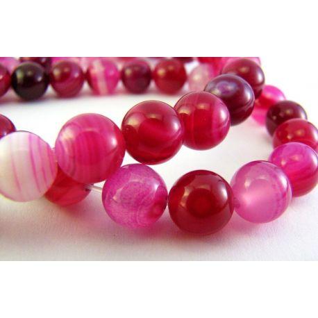 Agate beads purple - white round shape 8mm