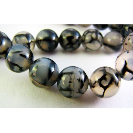 Agate beads black-gray round shape 8mm