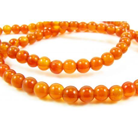 Агат каменные бусины оранжевые - красная круглая форма 4 мм