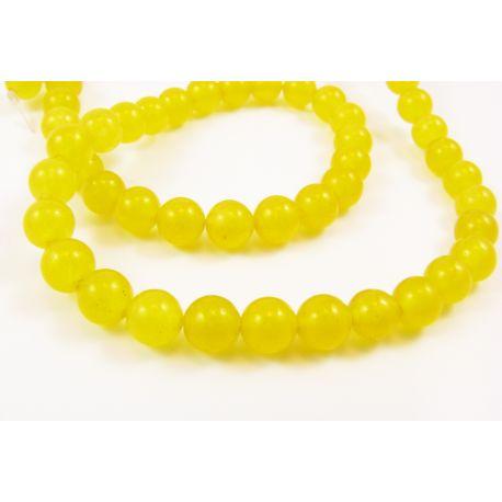 Topazo akmeniniai karoliukai geltonos spalvos apavalios formos 6 mm