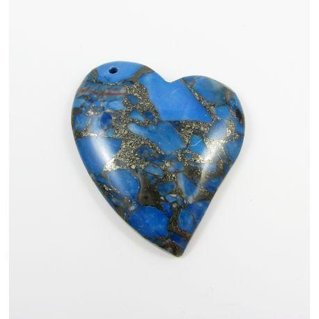 Opalo pakabukas skirtas vėrimui, tamsiai mėlynos spalvos su aukso spalvos blizgiais intarpais, dažytas, širdutės formos, apie 45