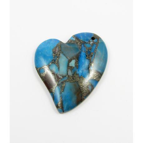 Opalo akmeninis pakabukas mėlynos spalvos 43x46x7 mm