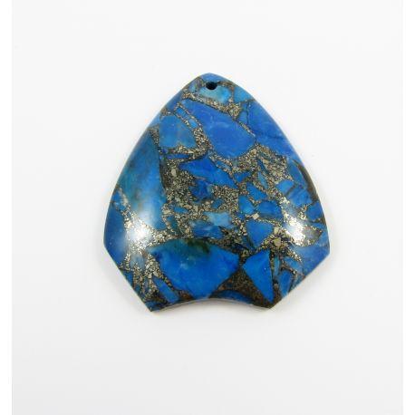 Opal akmens kulons zils 40x43x7 mm