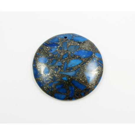 Opal stone pendant blue 47x47x7 mm