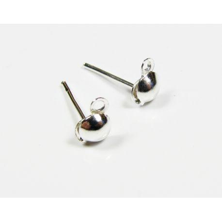 Kabliukai skirti auskarų gamybai sidabro spalvos 13x6x4 mm