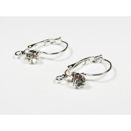 Hooks for the manufacture of earrings, silver color 24x13 mm