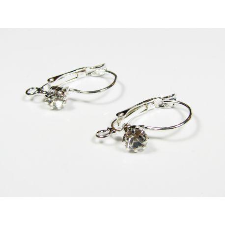 Kabliukai auskarų gamybai, sidabro spalvos 24x13 mm