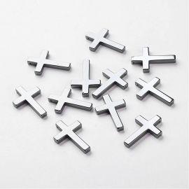 """Synthetic Hematite pendant """"Cross"""", hematite colors, 35x23x4 mm."""