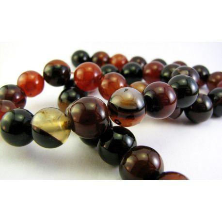 Agato karoliukai juodai - oranžinės spalvos apvalios formos 10mm