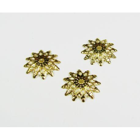 Kepurėlė skirta papuošalų gamybai karoliukų papuošimui aukso spalvos 13x13x2 mm