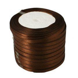 Satin ribbon, brown, 6 mm reel about 22 meters