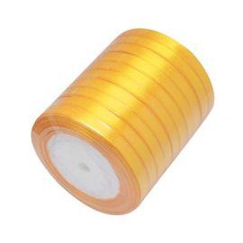 Satin ribbon, dark yellow, 6 mm reel about 22 meters