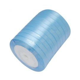 Satin ribbon, bluish, 6 mm reel about 22 meters