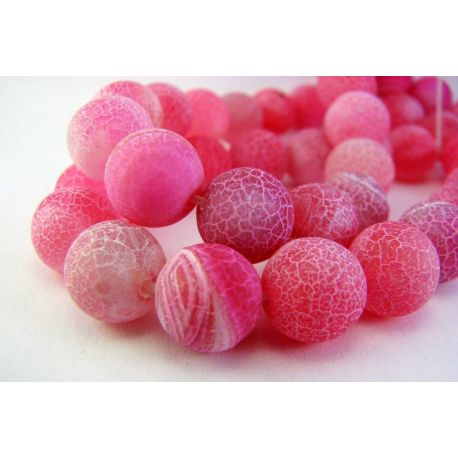 Agato karoliukai tamsiai rožinės spalvos apvalios formos 10mm