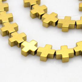 """Бусины синтетические гематитовые """"Крест"""", цвет темно-золото, 8х8 мм. 1 шт."""