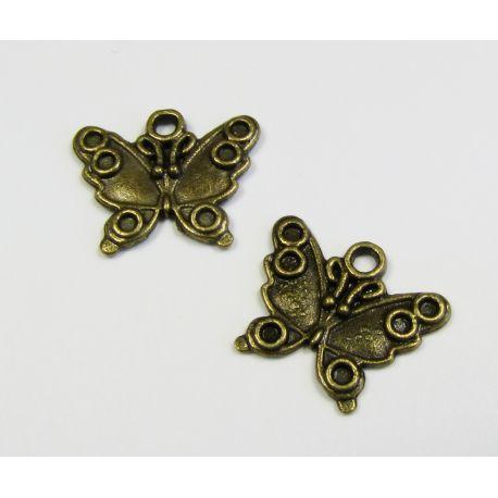 Кулон бабочка цвет бронза 14х17 мм