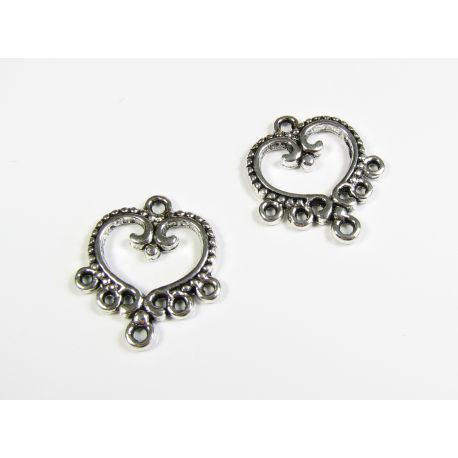 Distributor aged silver color 6 loops 18x21 mm