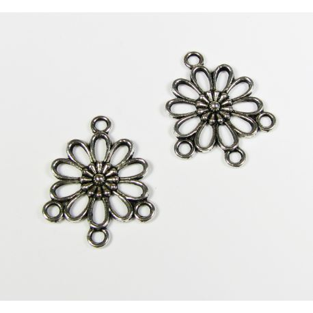 """Distributor """"Flower"""" aged silver color 4 loops 23x19 mm, 8 pcs."""