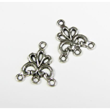 Distributor aged silver color 4 loops 19x17 mm