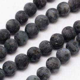Бусины из норвежского лабрадоритоита, темно-серые 10 мм., 1 нитка