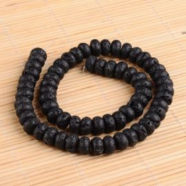 Natural Lava Beads 10x6 mm., 6 pcs.