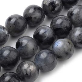 Natural Norwegian labradoritote beads, gray-black 12 mm., 1 strand