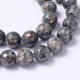 Natural Norwegian labradoritoite beads, dark gray with b color 10 mm., 1 strand