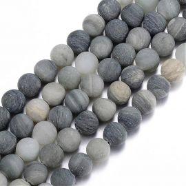 Бусины из натурального зеленого кварца рутл 8 мм., 1 нитка