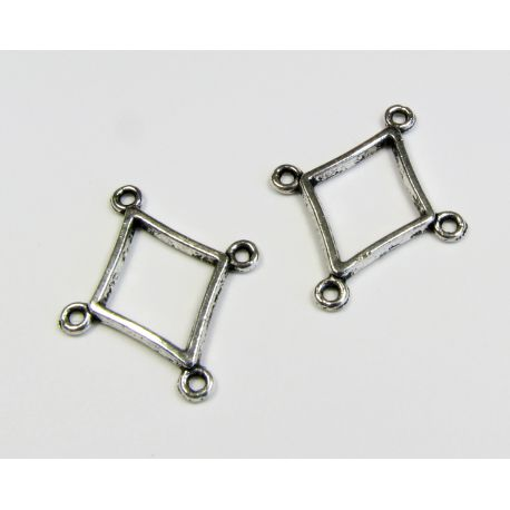 Distributor aged silver color 4 loops 23x19 mm