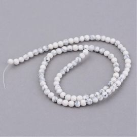 Houlito beads, white with gray color 8 mm., 1 strand